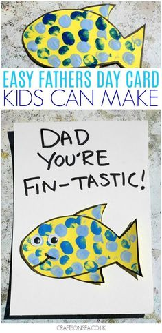 Isn't this little card fin-tastic?! This simple idea is perfect for a Fathers Day card kids can make and can be made by toddlers or preschoolers as we've done it or by older kids who can do the writing themselves and who can adapt the fish with our sugges