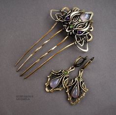 VIOLETS set-pin and earrings-brass, chalcedony, beryl, amethyst, forging, patina.   by KL-WireDream on DeviantArt