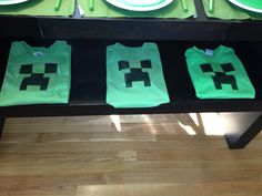 Home made minecraft tshirts for my son's 9h bday 2013