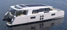 Yacht Design, Boat Design, Power Catamaran, Sailing Catamaran, Boat Building Plans, Boat Plans, House Yacht, Narrowboat Interiors, Explorer Yacht