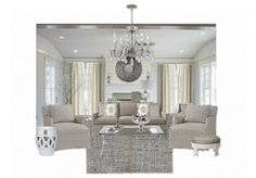 Whimsy White + Gray Living Room by charminglyshab | Olioboard  *Featuring Home Furnishings from: Z Gallerie, One Kings Lane, Ballard Designs, Serena & Lily, Crate & Barrel, (room set) Tiek Built Homes