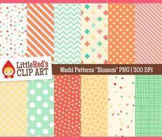 "Washi Patterns Digital Papers - ""Blossom"" Color Scheme $"