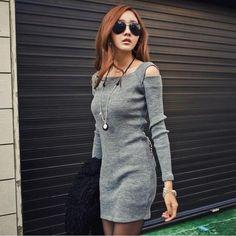Feitong Autumn Dress Women Plus Size Sexy Off The Shoulder Long Sleeve Knitwear Bandage Short Mini Dress Vestidos femininos 2016