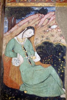 Female figure with glass and bottle fresco in the Chehel Sotoun or Chihil Sutun palace Isfahan Iran 17th century