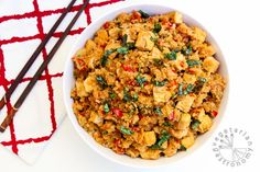 """Stir-Fry Cauliflower """"Rice"""" with Tofu and Vegetables (vegan, gluten-free) - Guest Post for Veggies Don't Bite"""