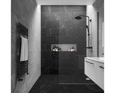 Stylish Impressive Black Floor Tiles Design Ideas For Modern Bathroom Black Tile Bathrooms, Bathroom Grey, Bathroom Layout, Dark Tiled Bathroom, Bathroom Ideas, Black Bathroom Floor, Black Floor, Bathroom Wall Tiles, Grey Modern Bathrooms