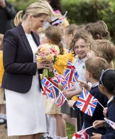 Sophie, The Countess of Wessex meets local school children after opening the new extension at St John the Baptist Church, Church Lane on 9 May 2013 in Bisley, England.