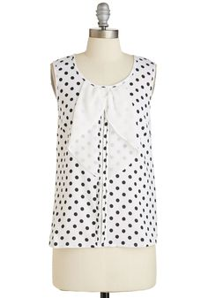 Brisk and Reward Top - Mid-length, Woven, White, Black, Polka Dots, Print, Work, Casual, Sleeveless, Scoop