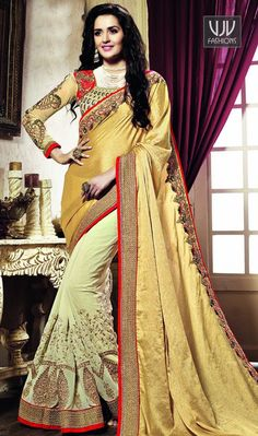 Tantalizing Georgette Beige Color Designer Saree Make the heads flip whenever you costume up with this gorgeous beige georgette classic saree. Beautified with embroidered and patch border work all synchronized nicely through the trend and style and design of the attire