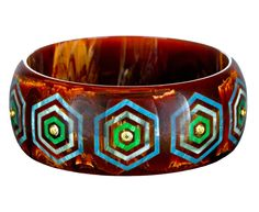 Mark Davis  Marbled Brown Vintage Bakelite Bangle with Hexagonal Inlays and Peridot Vintage Pins, Vintage Jewelry, Bangle Bracelets, Bangles, Mark Davis, Jewelry Boards, Peridot, Costume Jewelry, Jewelry Collection