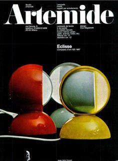 Vico Magistretti's Eclisse Lamp for Artemide. Advertising Space, Advertising Design, 1960s Advertising, Home Lighting, Lighting Design, Luminaire Vintage, Logos Retro, Colani, Futuristic Home