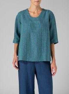 Linen Three-Quarter Sleeve Top