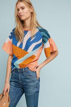Slide View: 1: Colorblock Eyelet Top