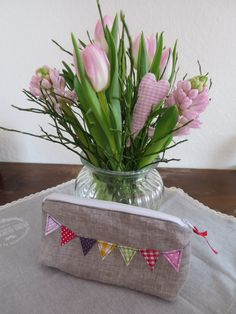 Handmade fabric bunting on a pouch