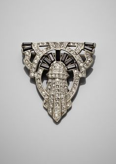 BEN-AMUN Deco Triangle Brooch