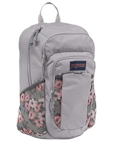 JanSport Unisex Women's Node Coral/Gray Backpack. Jansport Women's Node backpack. One main compartment. Internal padded laptop sleeve. Web haul handle. Fully padded back panel.