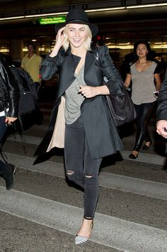 Julianne Hough airport outfit, black trench coat