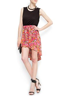 MANGO - Floral print tail hem skirt - i love this look