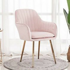 Model:Velvet Dining Chairs Feature:Gold-plated chair feet, The seat cushion is removable and washable. Pink Dressing Tables, Dressing Table With Chair, Dressing Room Decor, Pink Cushions, Velvet Cushions, Chair Cushions, Bedroom Chair, Gold Bedroom, Bedroom Decor