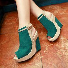 Shoespie Zipper Metal Suede Wedge Sandals