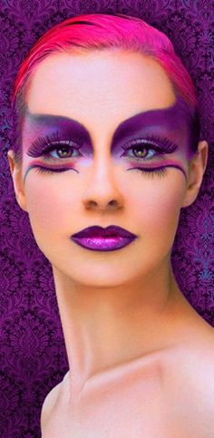 Extreme eye makeup. Fantasy face makeup. Amazing lip designs. All very inspiring for a professional photographer based in Bury St. Edmunds, Suffolk Purple and Fuchsia / John Farrar Photography