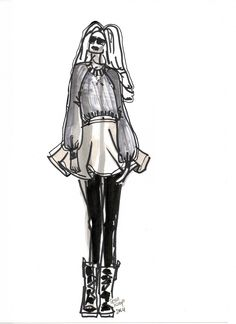 Ice-skating skirt with cropped sweater, illustrated by TESSA KOOPS www.tessakoops.com