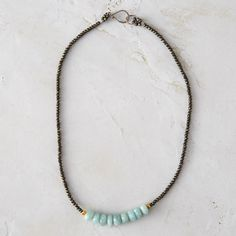 Amazonite Row Necklace, An orderly row of amazonite gems anchors this pyrite strand, each one hand-crafted by Connecticut designer Susan Roberts.
