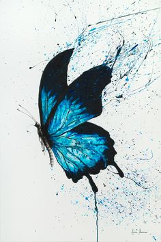 New horizons limited edition art print by ashvin harrison limited by saatchi art Butterfly Drawing, Butterfly Wall Art, Butterfly Painting, Butterfly Watercolor, Watercolor Paintings, Painting Art, Blue Painting, Easy Watercolor, Blue Butterfly Wallpaper