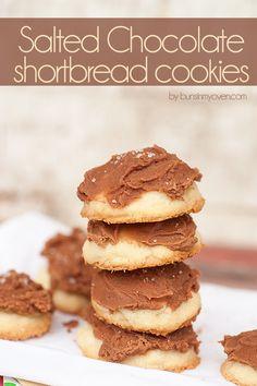 Salted Lindt Chocolate Shortbread Cookies #recipe