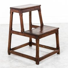 19th Century French Hand Pegged Oak Library Step Ladder  6 £487