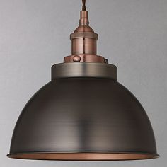 Buy John Lewis Baldwin Pendant Ceiling Light, Pewter& from our Ceiling Lighting range at John Lewis. Free Delivery on orders over Copper Light Fixture, Copper Pendant Lights, Copper Lighting, Antique Lighting, Island Lighting, John Lewis Pendant Lights, Industrial Lighting, Kitchen Lighting Fixtures, Kitchen Pendant Lighting