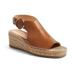 Women's Rag & Bone Calla Espadrille Wedge ($395) ❤ liked on Polyvore featuring shoes, sandals, tan leather, wedge sandals, espadrilles shoes, wedge shoes, espadrille wedge shoes and sling back sandals