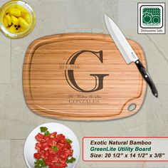 Personalized Extra Large Bamboo Cutting Board - Design 11