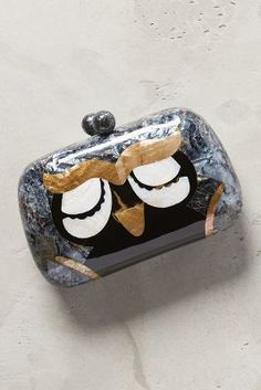 Serpui Marie Sleepy Owl Box Clutch Grey Motif One Size Clutches