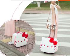 """Hello Kitty Trolley 18"""" //Price: $282.99 & FREE Shipping // World of Hello Kitty http://worldofhellokitty.com/18-inch-hello-kitty-luggage-suitcase-kids-women-travel-cartoon-leather-luggage-rolling-spinner-wheels-gift-dhlems-free-shipping/    #collectibles"""