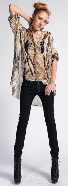 Black Jeans, see-through animal print top, blacl leather high heel booties, casually cute! Glam Rock, Animal Print Fashion, Animal Prints, Fashion Outfits, Womens Fashion, Fashion Trends, Fashion Fashion, Cozy Winter Outfits, Passion For Fashion