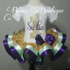 Menta y cinta púrpura tutú conjunto por RenesBowtique en Etsy