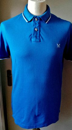Crew Clothing Polo Shirt Mens Size S  Top Designer Blue
