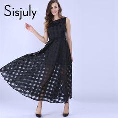 Sisjuly 2016 Maxi Summer Plaid Women Dress New Long Organza day Dress Vestidos De Festa Satin Fashion style black women dresses -- More info could be found at the image url.