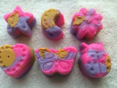 Do your kids love fun smelling soaps? Candied apple fragrance mini soaps.  Pink, purple, and yellow colored.  Great for sensitive skin and eczema.  You will get 3 different shapes from the ones pictured. (I choose)    Handmade Soap made with coconut oil, olive oil, palm oil, cocoa butter, water...