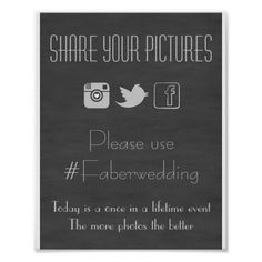 Chalkboard Social Media Wedding Photo Hashtag Sign Print