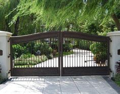 Spanish Style Wooden Driveway Entry Gate Stylish