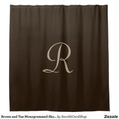 Brown and Tan Monogrammed Shower Curtain -This elegant shower curtain can be any background color you select - just click Customize. Default bBackground is dark brown; monogram is tan. A great gift for a wedding or housewarming. Matching bath mat is zazzle product ID 256695208318540190. All Rights Reserved © 2015 Alan & Marcia Socolik