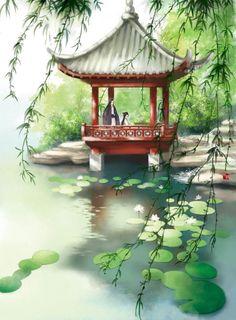 Arbor in the garden Fantasy Art Landscapes, Fantasy Landscape, Landscape Art, Landscape Paintings, Japanese Painting, Chinese Painting, Japanese Art, Watercolor Landscape, Watercolor Art