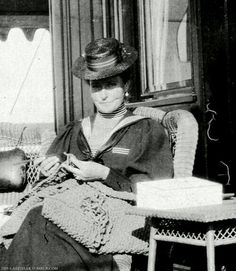 Empress Alexandra Feodorovna of Russia crocheting on the royal yacht Standart.