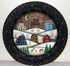 Items similar to Winter Folk Art Hand Painted Plate, Primitive Country Church Winter Christmas Scene, Blue, Snowflakes, Rustic Landscape MADE TO ORDER on Etsy Primitive Folk Art, Primitive Christmas, Primitive Plates, Winter Christmas Scenes, Christmas Ideas, Christmas Decorations, Holiday Decor, Country Paintings, Art Paintings