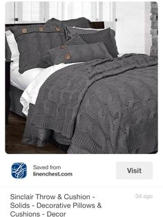 Sinclair Throw & Cushion - Solids - Decorative Pillows & Cushions - Decor Loove this. Dream Bedroom, Home Bedroom, Master Bedroom, Bedroom Decor, Bedrooms, Sweet Home, Diy Casa, Diy Home, Home Decor