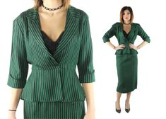 $72, Vintage 80s Suit High Waisted Pencil Skirt Peplum Jacket Blazer Green Striped Holiday Christmas Wiggle Dress 1980s does 1940s 40s Small S by ScarletFury on Etsy