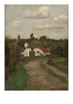 Piet Mondrian: Roadway and Farm Building near Arnhem, ca. 1902,  Oil on paper on panel
