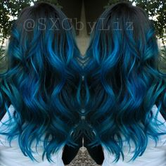 Blue hair ombre Balayage highlights long hair